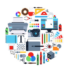 Pictures of tools for graphic designers vector