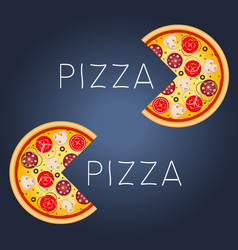 Pizza with mushrooms salami tomato and sausage vector