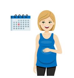 Pregnant woman looking at calendar vector