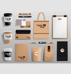 realistic coffee shop mockups cafe restaurant vector image