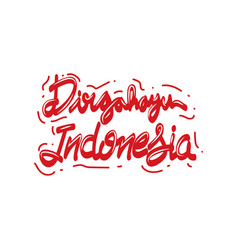 Red and white dirgahayu indonesia lettering hand vector
