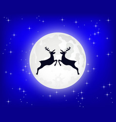 reindeer jumps against background moon vector image