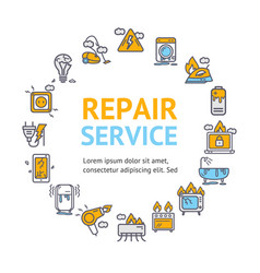 repair service round design template thin line vector image