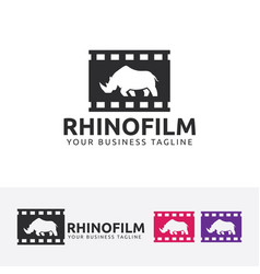 Rhino film logo design vector