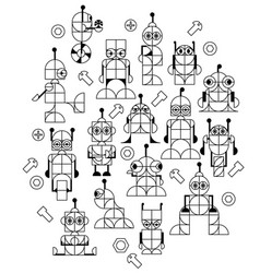 Robots outline vector