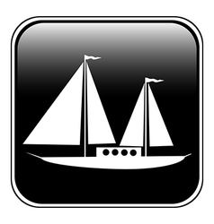 Sailing ship button vector image