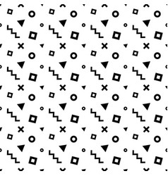 Seamless memphis pattern with black geometric vector