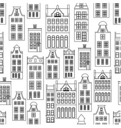 Seamless pattern with amsterdam houses outline vector