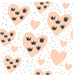 seamless pattern with hearts and crowns on white vector image