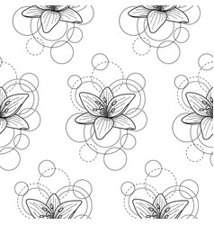 Seamless pattern with lily and circles on white vector