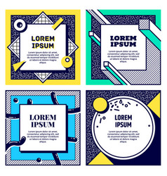 set cool memphis style cards vector image