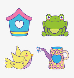 Set house with frog and bird with watering can vector