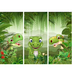 Set of three cartoon dinosaur vector