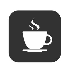 simple modern white cup coffee icon on grey vector image