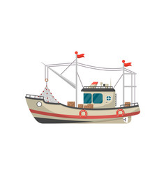 Small fishing trawler side view icon vector