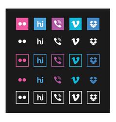 social media icon set on black background vector image