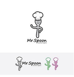 spoon chef logo vector image
