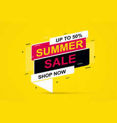 summer sale banner on yellow background vector image