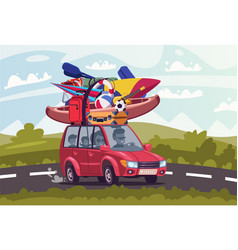 summertime road trip flat vector image