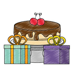 Sweet and delicious cake with gifts presents vector