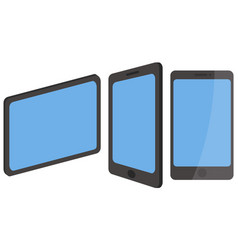 tablets and a phone with blue screen and black vector image