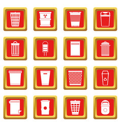 Trash can icons set red vector