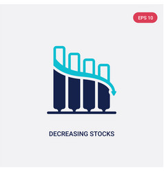 Two color decreasing stocks bars graphic icon vector