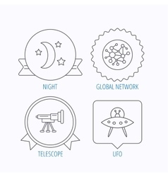 Ufo global network and telescope icons vector image