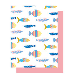 Under sea colored fishes cartoon wide marine vector