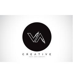 Va modern leter logo design with black and white vector