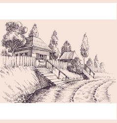 Village road small old houses sketch wallpaper vector