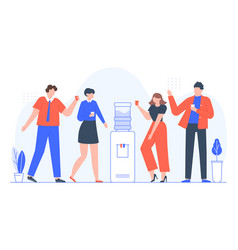 water cooler talk business people group drink vector image