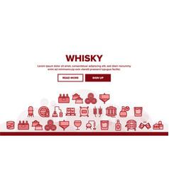 Whisky alcoholic drink landing header vector
