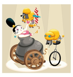 woman with cannon and dachshunds in circus vector image