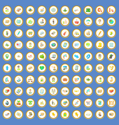100 package and delivery icons set cartoon vector image