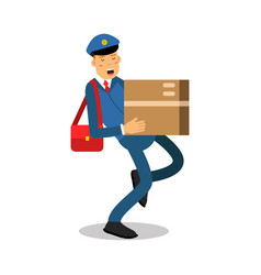 postman in blue uniform with red bag carrying a vector image vector image