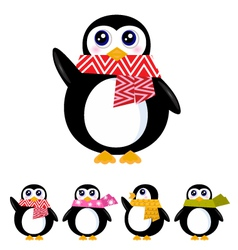 retro winter penguin vector image vector image