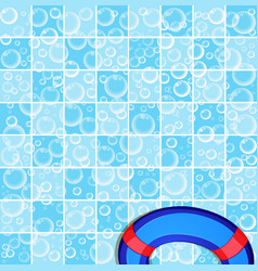 Template with flying soap bubbles on tiled blue vector