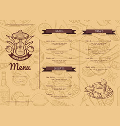 Horizontal restaurant or cafe template with vector