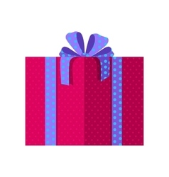Red Gift Box with Blue Ribbon vector image vector image