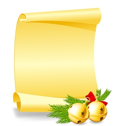 Christmas card - paper scroll wishlist with bells vector image