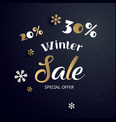 christmas sale banner with text and snowflake vector image