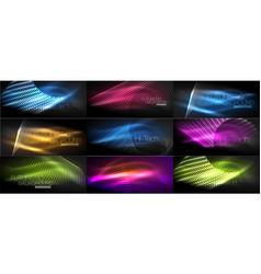 set of hi-tech futuristic techno backgrounds neon vector image