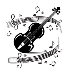 staff and notes with violin music black objects vector image