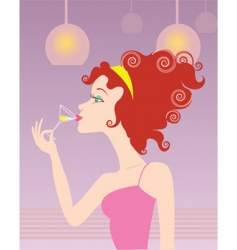 woman and glass vector image