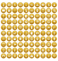 100 hardware icons set gold vector