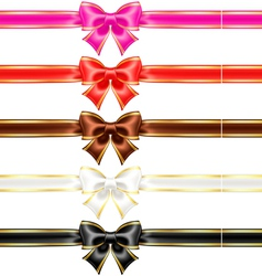 Bows with edging and ribbons in warm colors vector image