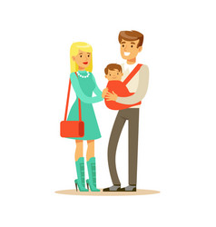 family couple father carrying their baby in a red vector image vector image