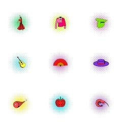Holiday in Spain icons set pop-art style vector image