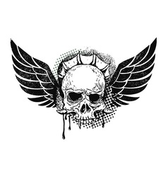monster skull with wings vector image